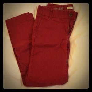 Red J Crew stretch cotton slacks